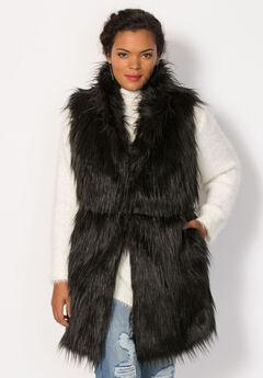 Faux Fur Vest, BLACK, hi-res