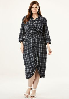 Knot-Front Shirtdress with Button Front,