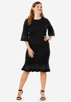 Bell-Sleeve Ponte Dress,