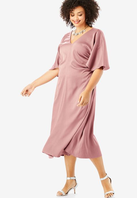 Ruched V-Neck Dress with Dolman Sleeves| Plus Size Dresses | Roaman\'s