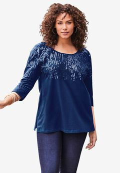 Three-Quarter Sleeve Embellished Tunic,