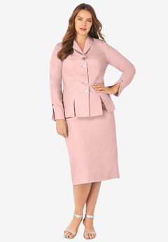 Two-Piece Skirt Suit with Shawl-Collar Jacket, SOFT BLUSH