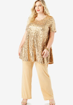 Trapeze Tunic & Pant Set with Sequin Embellishment,