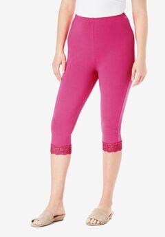 Lace-Trim Essential Stretch Capri Legging, VIVID PINK