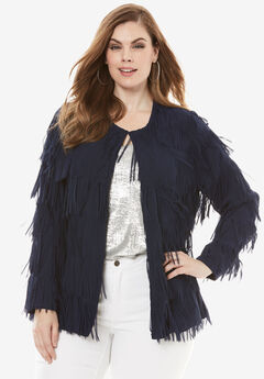 Fringe Collarless Jacket, NAVY, hi-res