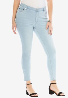 Skinny Jeans with Invisible Stretch® Waistband by Denim 24/7®, BLEACH SANDED