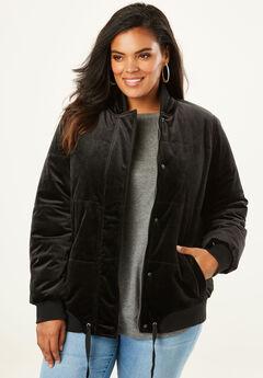 Velvet Bomber Puffer Jacket, BLACK