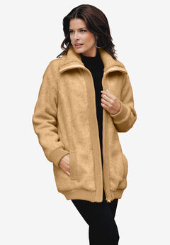 Textured Fleece Bomber Coat, CAMEL