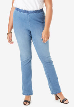 Straight-Leg Pull-On Stretch Denim Jean by Denim 24/7®, LIGHT STONEWASH SANDED