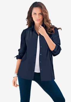 Long-Sleeve Kate Big Shirt, NAVY