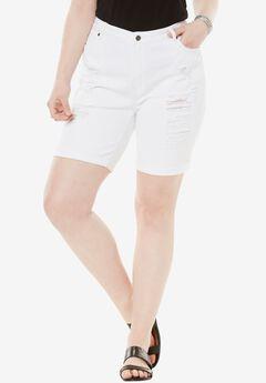 Distressed Shorts by Denim 24/7®, WHITE DENIM, hi-res