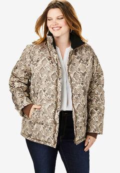 Short Puffer Jacket, BROWN SNAKE