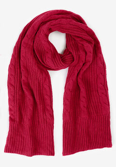 Cable Knit Scarf, CLASSIC RED