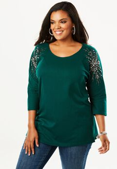 Embellished Shoulder Tunic, EMERALD GREEN STAR