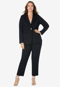 Straight-Leg Pantsuit with Blazer, BLACK