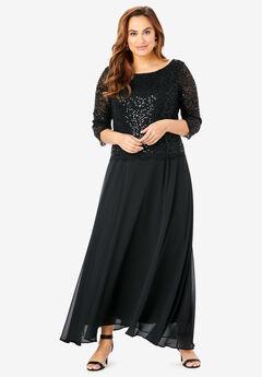 Lace Popover Dress, BLACK