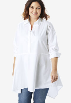 Asymmetric Tunic with High-Low Hem, WHITE