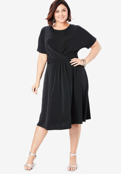 Twist Front Dress, BLACK