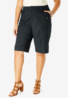 Cargo Shorts with Adjustable Bungee Hem, BLACK, hi-res