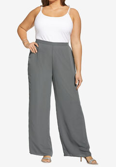 Georgette Wide-Leg Dress Pant, SLATE