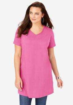 Short-Sleeve V-Neck Ultimate Tunic, VINTAGE ROSE
