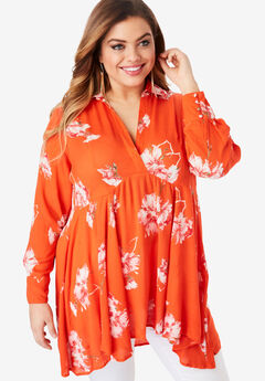 Fit-and-Flare Crinkle Tunic with High-Low Hem, RED PAINTERLY FLORAL