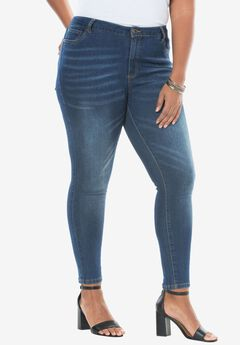 Skinny Jeans with Invisible Stretch® Waistband by Denim 24/7®, STONEWASH SANDED