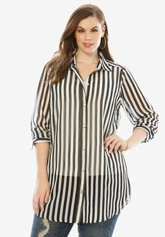 Georgette Shirt, BLACK STRIPE, hi-res