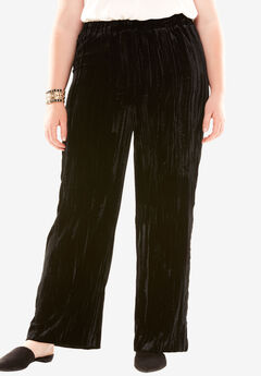 Pleated Velvet Pant, BLACK, hi-res