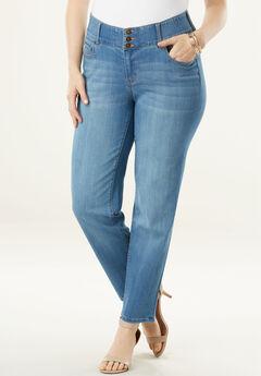 The Curvy Straight-Leg Jean by Denim 24/7®, LIGHT STONEWASH