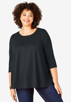 Three-Quarter Sleeve Swing Ultimate Tee, BLACK