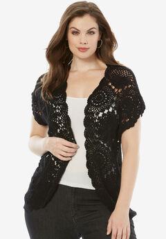 Medallion Crochet Cardigan, BLACK, hi-res