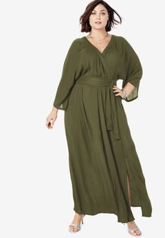 Crinkle Belted Maxi Dress, DARK OLIVE GREEN