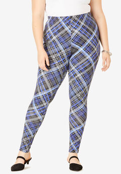 Essential Stretch Legging, BLUE PLAID