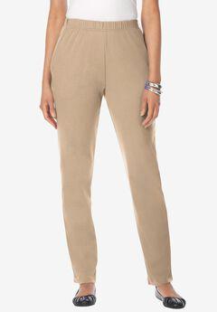 Straight-Leg Soft Knit Pant, NEW KHAKI