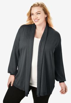 Fine Gauge Shawl-Collar Cardigan, BLACK