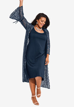 Lace Duster Jacket Dress Set, NAVY