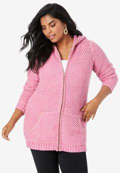 Tweed Thermal Hoodie Cardigan, PINK BLOSSOM CHERRY GLOW