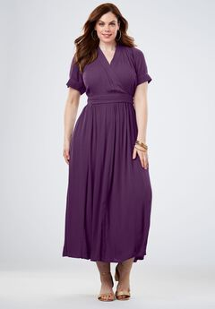 Wrap Maxi Dress in Crinkle, EGGPLANT