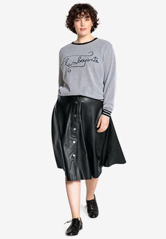 Faux Leather Flared Skirt Castaluna by La Redoute,