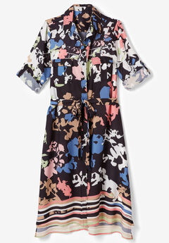 Button-Front Ultra Tunic, MULTI ABSTRACT FLORAL