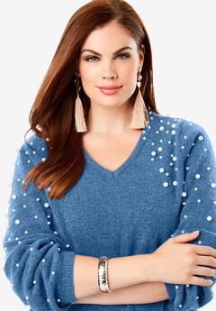 Embellished Pullover Sweater with Blouson Sleeves, DUSTY INDIGO