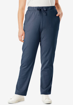 Straight Leg French Terry Pant with Drawstring, NAVY