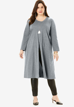 Slit-Front Drape Ultra Tunic, MEDIUM HEATHER GREY, hi-res