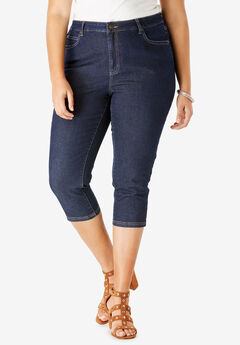 Denim Capri with Invisible Stretch® by Denim 24/7®, DARK WASH