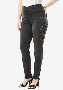 The No-Gap Jegging by Denim 24/7®, EMBROIDERED