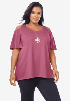 Cold-Shoulder Drape Tunic with High-Low Hem,