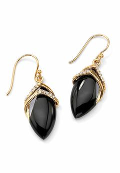 Gold-Plated Onyx & Cubic Zirconia Drop Earrings,