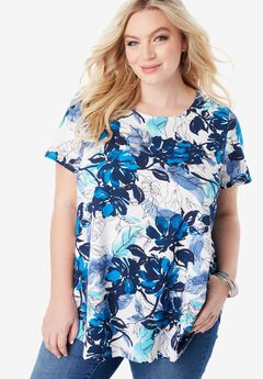 Ultimate Trapeze Tee, BLUE LEAF PRINT