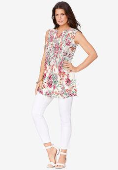 Sleeveless English Floral Big Shirt, WHITE WATERCOLOR PEONY